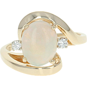 Opal & Diamond Bypass Ring - 14k Yellow Gold Oval Cabochon 1.06ctw