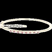 "Ruby & Diamond Oval Bangle Bracelet 6 3/4"" - 14k Gold Round Brilliant .56ctw"