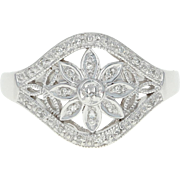 Flower Blossom Ring - 10k White Gold Diamond Accents Milgrain Size 7