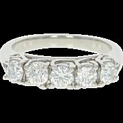 Five-Stone Diamond Ring - 950 Platinum Trellis Round Cut 1.00ctw