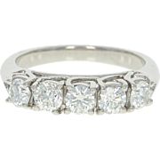 Five-Stone Diamond Ring - 950 Platinum Trellis Round Cut 1.00ctw