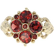 Georgian Garnet Ring - 9k Yellow Gold Antique Flower Design 1.60ctw