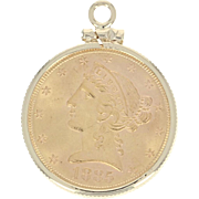 1885 Liberty Head $5 Dollar Coin Pendant - 14k Gold & 900 Fine Gold Coin