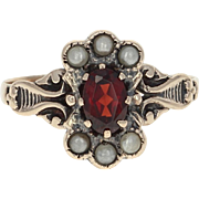 Victorian Garnet & Simulated Seed Pearl Ring - 10k Yellow Gold Antique .56ct