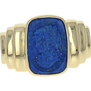 Lapis Lazuli Cameo Ring - 18k Yellow Gold Silhouette Women's Size 7 1/4