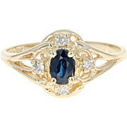 Sapphire & Diamond Ring - 10k Yellow Gold Oval Brilliant .43ctw