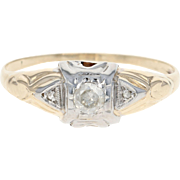 Art Deco Diamond Engagement Ring - 14k Yellow Gold Vintage Round Cut .12ct