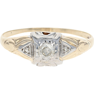 Art Deco Diamond Engagement Ring - 14k Yellow Gold Vintage Round Cut .12ct