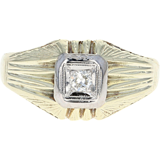 Art Deco Men's Ring - 14k Gold Vintage Old European Cut Diamond Size 10 1/4