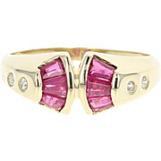 Ruby & Diamond Ring - 14k Yellow Gold Size 7 1/2 Baguette Cut .76ctw