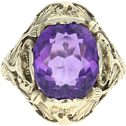 Art Nouveau Amethyst Solitaire Ring - 14k Gold Vintage Oval Brilliant 4.25ct
