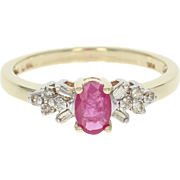 Ruby & Diamond Ring - 10k Yellow Gold Size 7 Oval Brilliant .67ctw