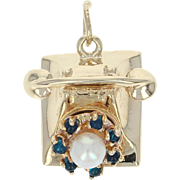 Vintage Rotary Telephone Charm - 14k Gold Cultured Pearl & Blue Glass Pendant