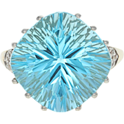 Blue & White Topaz Cocktail Ring - 10k Gold Square Cushion Fantasy 13.58ctw