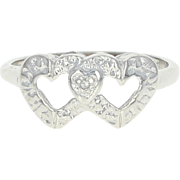 Vintage Two Hearts Ring - 10k White Gold Diamond Accent Love Gift