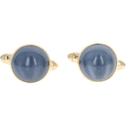 Star Quartz Cufflinks - 14k Yellow Gold Cabochon Cut 11.00ctw