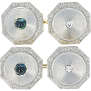 Art Deco Sapphire & Diamond Cufflinks - Platinum 14k Gold Vintage Octagon .66ctw