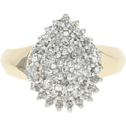 Diamond Cluster Cocktail Ring - 10k Yellow Gold Round Brilliant Cut .25ctw