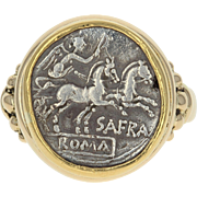 Authentic Ancient Denarius Coin Ring - 18k & 22k Gold Roman SAFRA Silver Size 10