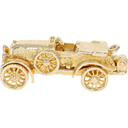 Classic Automobile Charm - 9k Yellow Gold Opens Car's Wheels Move