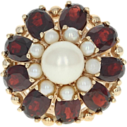 Cultured Pearl & Garnet Double Halo Ring - 14k Yellow Gold 5.00ctw