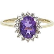 Amethyst & Diamond Halo Ring - 10k Yellow Gold Oval Brilliant 1.31ctw