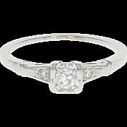 Art Deco Diamond Engagement Ring - 14k White Gold Vintage Old European .18ctw