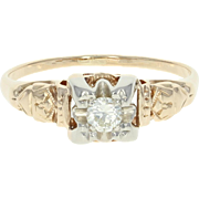 Art Deco Diamond Engagement Ring - 14k Yellow Gold Vintage Old European .15ct