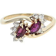 Ruby & Diamond Bypass Ring - 14k Yellow Gold Marquise Brilliant .80ctw