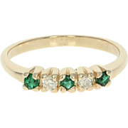 Emerald & Diamond Ring - 14k Yellow Gold Round Brilliant .20ctw