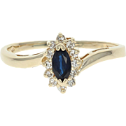 Sapphire & Diamond Halo Ring - 14k Yellow Gold Bypass Marquise Brilliant .42ctw