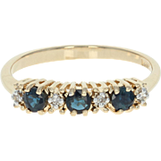 Sapphire & Diamond Ring - 14k Yellow Gold Round Brilliant .42ctw
