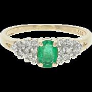 Emerald & Diamond Ring - 14k Yellow Gold Oval Brilliant Cut .68ctw