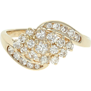 Diamond Cluster Bypass Ring - 14k Yellow Gold Tiered Round Brilliant .55ctw