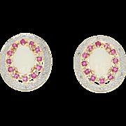 Opal, Synthetic Ruby, & Diamond Halo Earrings - 10k Yellow Gold Pierced 1.98ctw