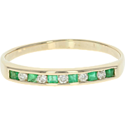 Emerald & Diamond Band Ring - 14k Yellow Gold Step Cut Squares .20ctw