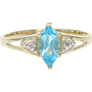 Blue Topaz Ring - 14k Yellow Gold Diamond Accents Marquise Brilliant .70ct