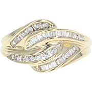 Diamond Love Knot Ring - 14k Gold Bypass Round Brilliant & Baguette .75ctw