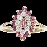 Ruby & Diamond Halo Ring - 10k Yellow Gold Marquise Brilliant .73ctw