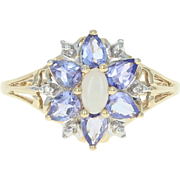 Opal & Tanzanite Floral Halo Ring - 10k Gold Diamond Accents Cabochon .86ctw