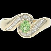 Green Garnet & Diamond Bypass Ring - 10k Gold Oval Brilliant & Baguette .55ctw