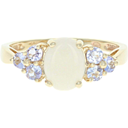 Opal & Tanzanite - 10k Yellow Gold Ring Oval Solitaire w/ Accents 1.10ctw