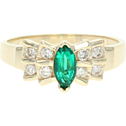 Synthetic Emerald & Diamond Ring - 10k Yellow Gold Marquise Brilliant .68ctw