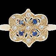 Sapphire & Diamond Ring - 14k Yellow Gold Size 6 1/2 Women's .26ctw