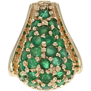 Emerald Cluster Pendant - 14k Yellow Gold Round Brilliant .95ctw