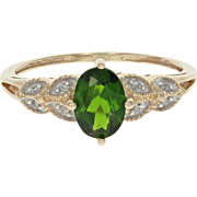 Green Chrome Diopside & Diamond Ring - 10k Yellow Gold 0.96ctw