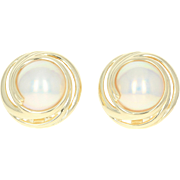 Mabe Pearl Earrings - 18k Yellow Gold Omega Closures Pierced 13mm
