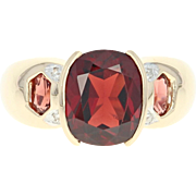 Garnet Ring - 14k Yellow Gold Women's Size 6 Diamond Accents 3.52ctw