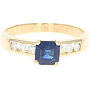 Sapphire & Diamond Ring - 18k Yellow Gold 6 1/4 - 6 1/2 Engagement .89ctw
