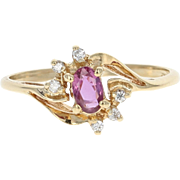 Ruby & Diamond Bypass Ring - 14k Yellow Gold Oval Brilliant .36ctw